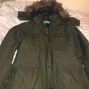 Khaki green oversized winter coat